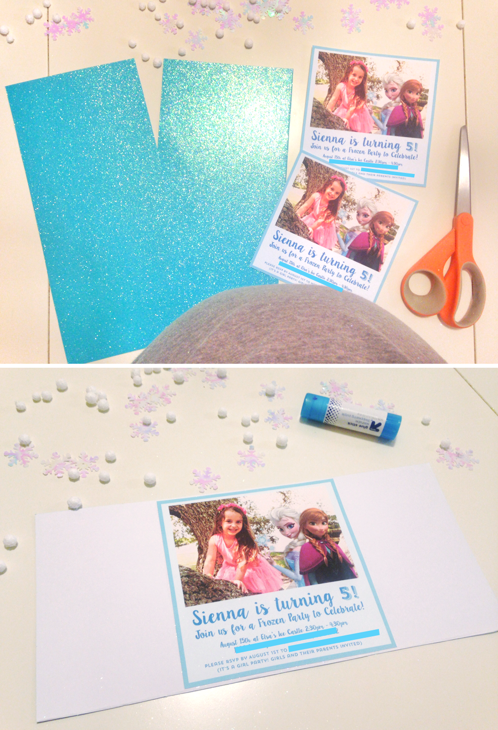 FROZEN PARTY INVITE TUTORIAL6 ATHOMEWITHNATALIE4