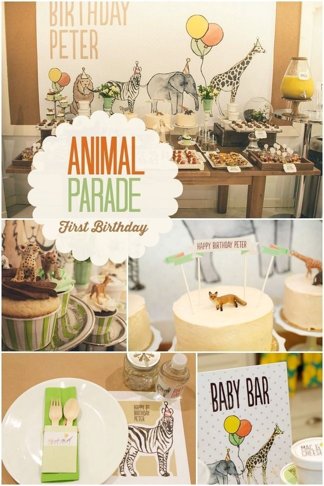 Boys Animal Parade First Birthday Party Ideas
