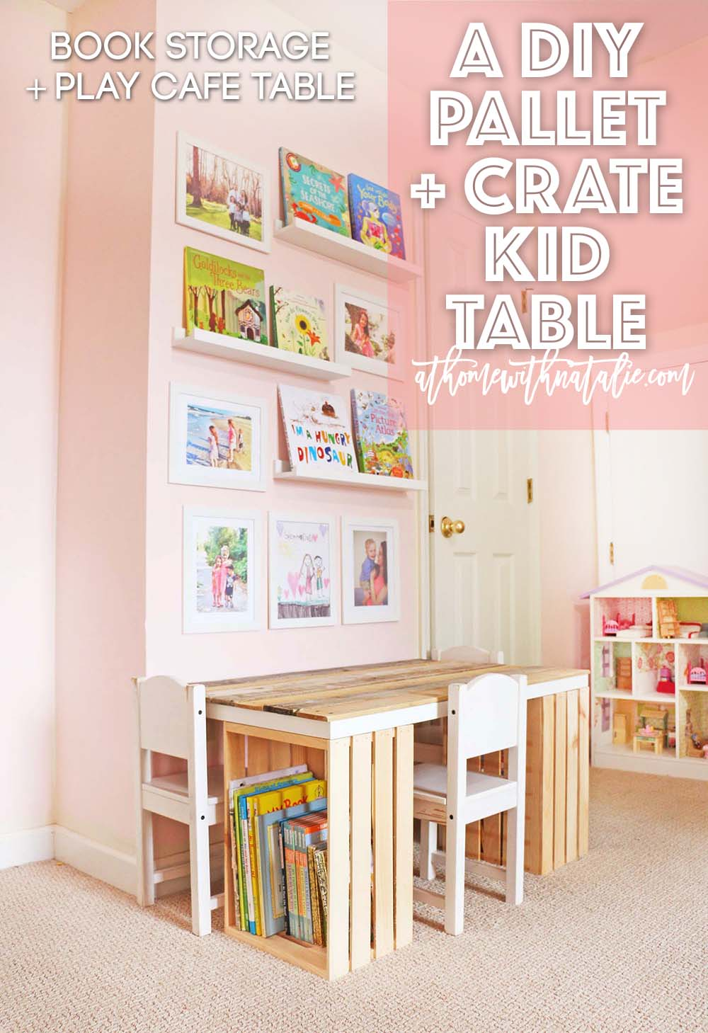 Diy pallet and crate kid table at home with natalie diy pallet and crate kid table malvernweather Images