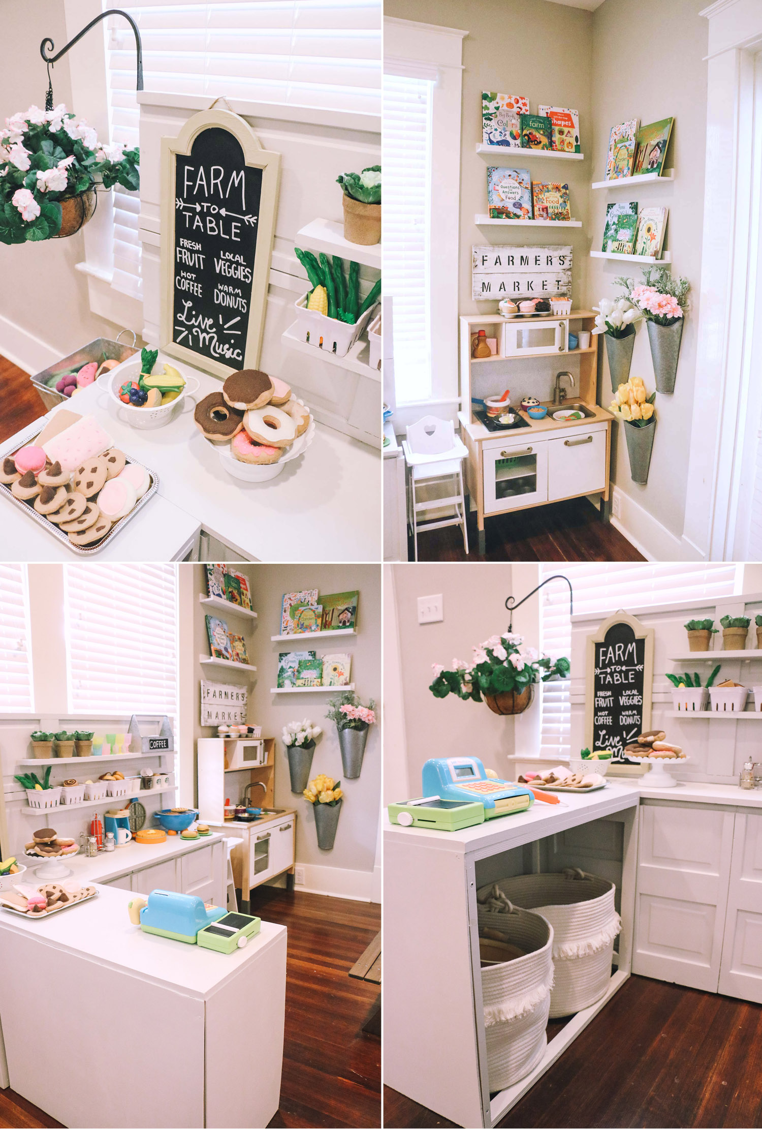 Diy play kitchen pretend play area at home with natalie bloglovin i got three wall hangers for the flowers at hobby lobby ive gotten asked about these a lot check the end caps at your store solutioingenieria